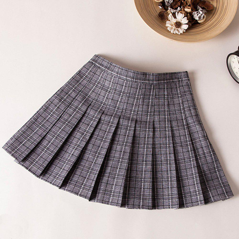 Outfits Plaid High Waist Slim Pleated Skirt A Word Age College Wind Skirt