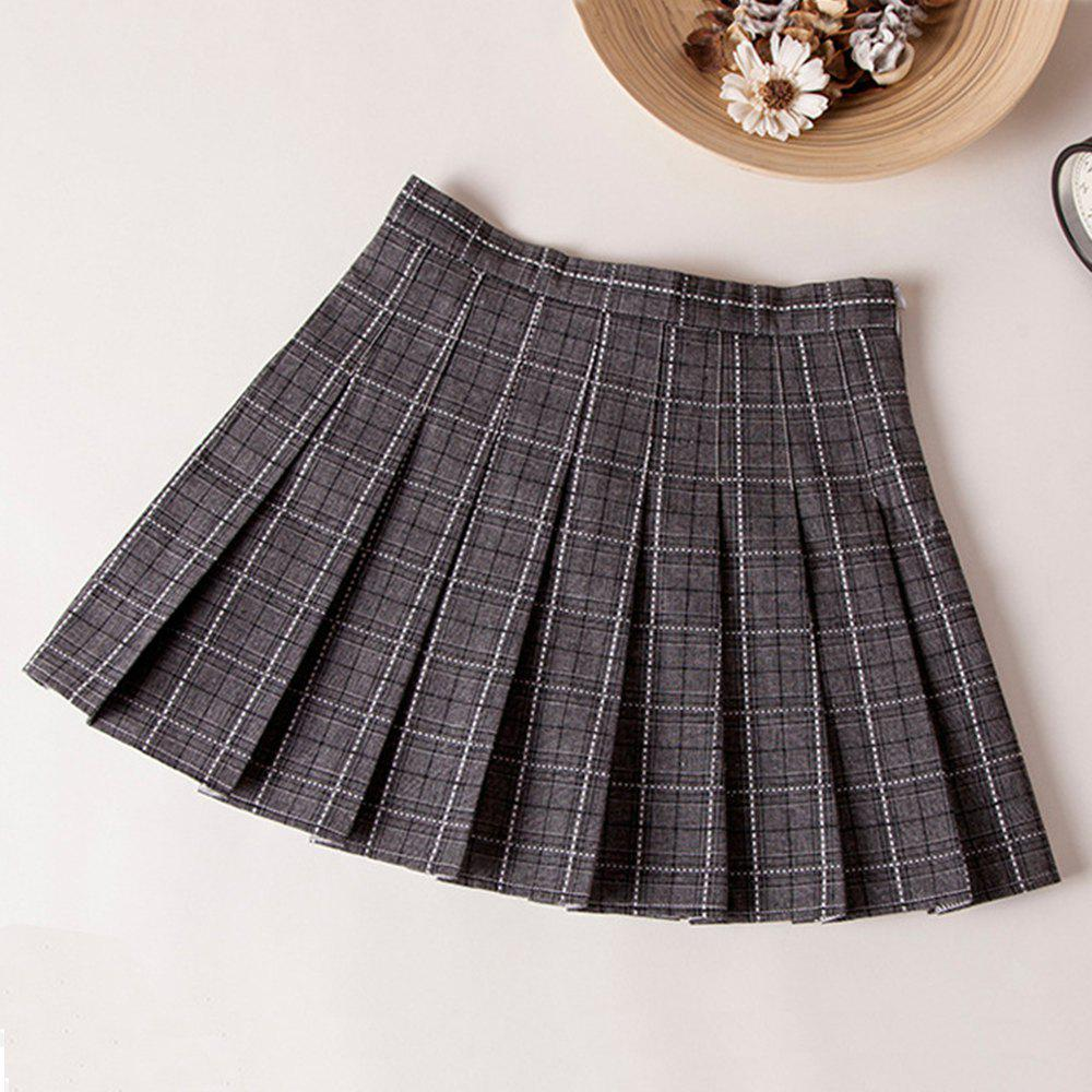 Outfit Plaid High Waist Slim Pleated Skirt A Word Age College Wind Skirt
