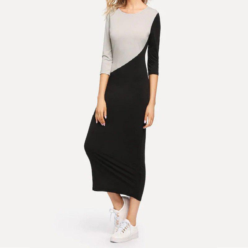 Discount Women'S Dress with A Round Neck and Five - Point Sleeves