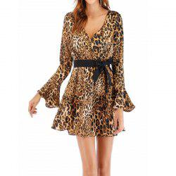 Women'S Leopard Print Dress with Flared Sleeves and A Deep V-Neck -