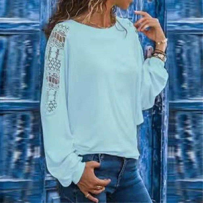 Affordable Women'S T-Shirt with Long Hollow Sleeves and Loose Lace