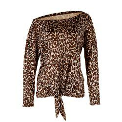 Leopard Print Long-Sleeved T-Shirt for Women -