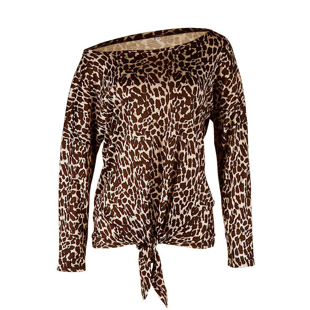 Store Leopard Print Long-Sleeved T-Shirt for Women