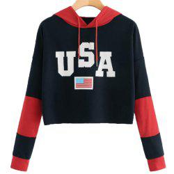Women's Long Sleeve Casual Short Hoodie USA Print -