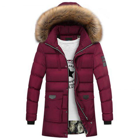 New Man Fashion Solid with Hooded Long Down Parka Coat