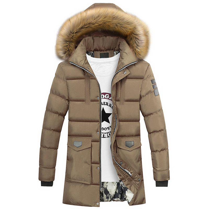 Fancy New Man Fashion Solid with Hooded Long Down Parka Coat