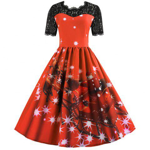 Hepburn Style Christmas Print Stitching Short-Sleeved Dress