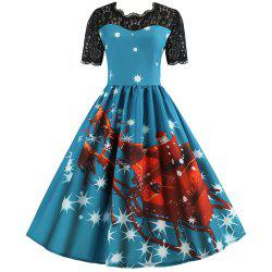 Hepburn Style Christmas Print Stitching Short-Sleeved Dress -