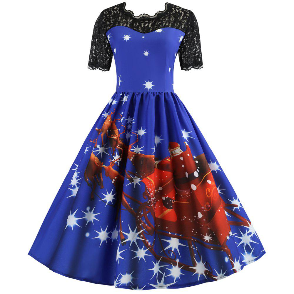 Shop Hepburn Style Christmas Print Stitching Short-Sleeved Dress