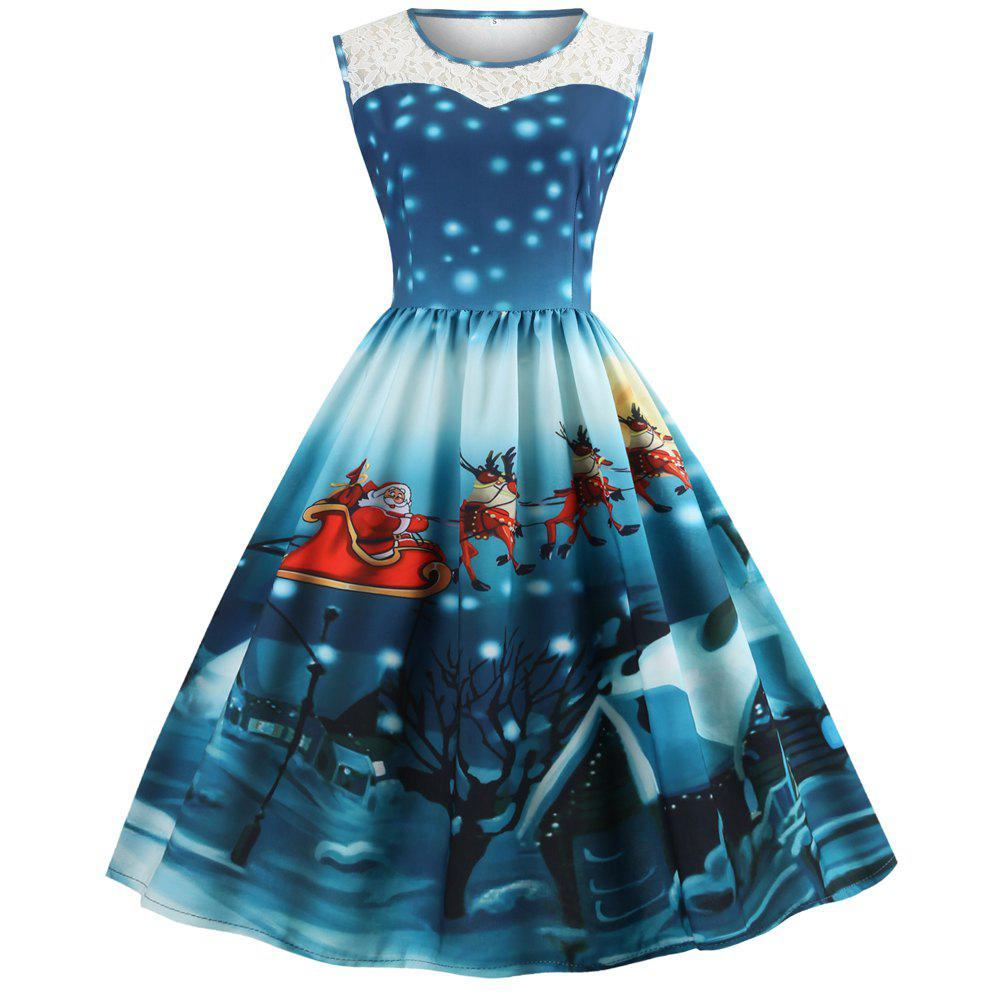 Hepburn Style Christmas Print Stitching Sleeveless Dress