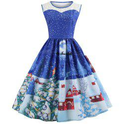 5187Hepburn Style Christmas Print Stitching Sleeveless Dress -