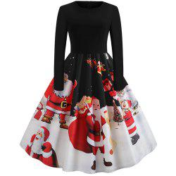 Hepburn Style Santa Print Stitching Long Sleeved Dress -