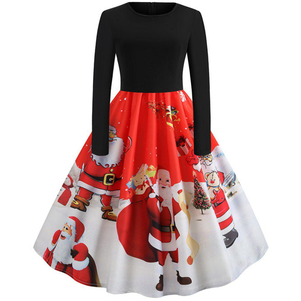 Outfit Hepburn Style Santa Print Stitching Long Sleeved Dress