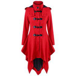 A Long Trench Coat with Irregular Horns and Buttons -