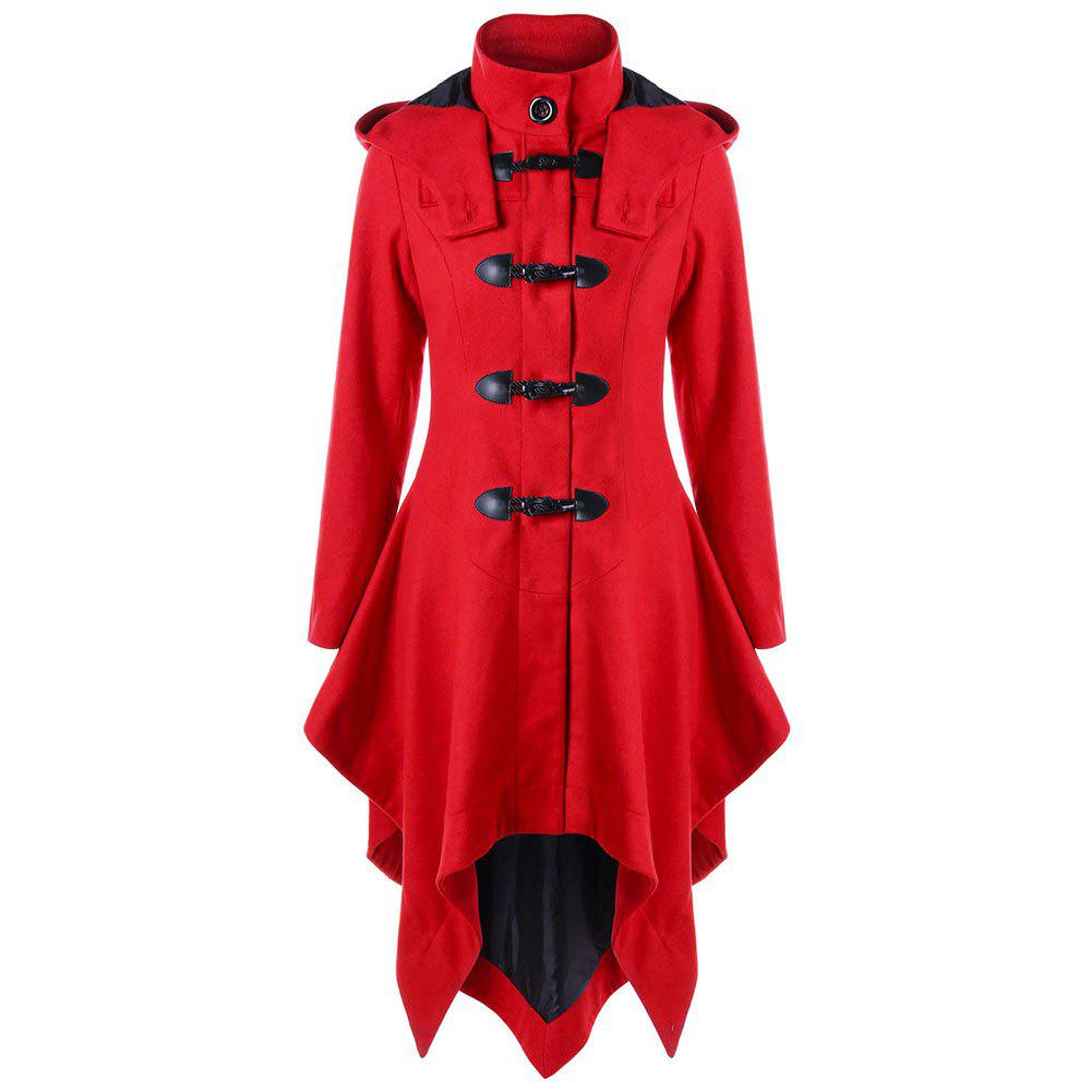 Unique A Long Trench Coat with Irregular Horns and Buttons