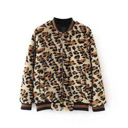 New Women'S Leopard Print Pocket Zipper Coat -