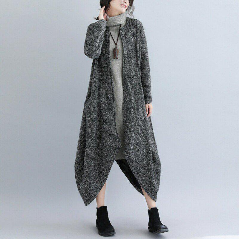Store Irregular Knit Cardigan Coat