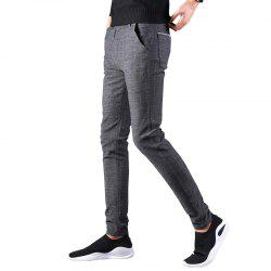 Men'S Fashion Trousers Slim Casual Pants Straight Plaid Pants 688 -