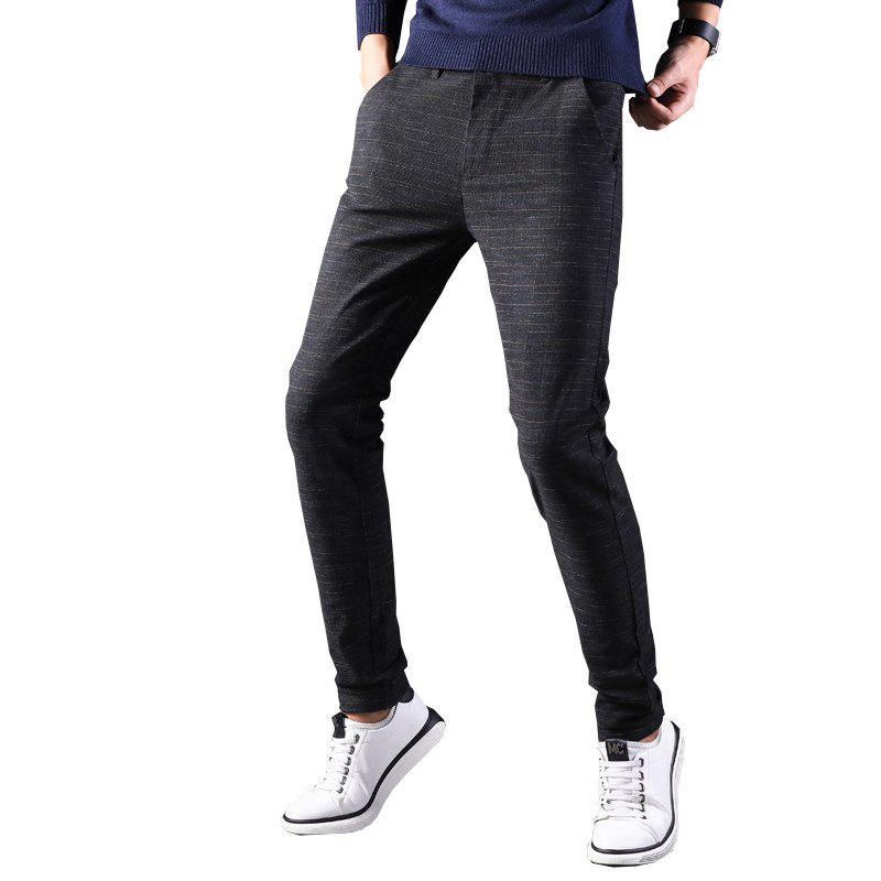 Outfit Men'S Fashion Trousers Slim Casual Pants Straight Plaid Pants 688