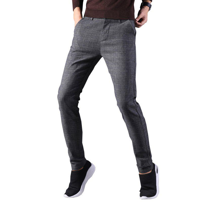 Outfits Plaid Casual Pants Men Straight Loose Trousers Business Men'S Pants 689