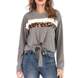 Women's Round Collar Long Sleeve Sweatshirt Leopard Print -