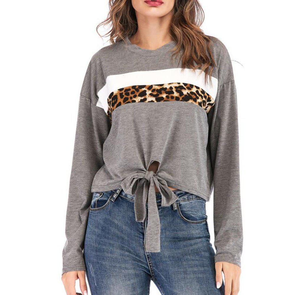 Discount Women's Round Collar Long Sleeve Sweatshirt Leopard Print