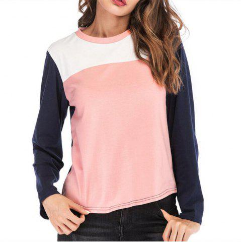 Women's round collar long-sleeved T-Shirt Trichromatic Splicing