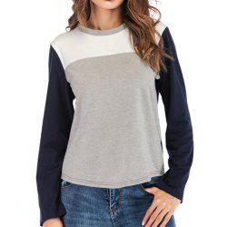 Women's round collar long-sleeved T-Shirt Trichromatic Splicing -