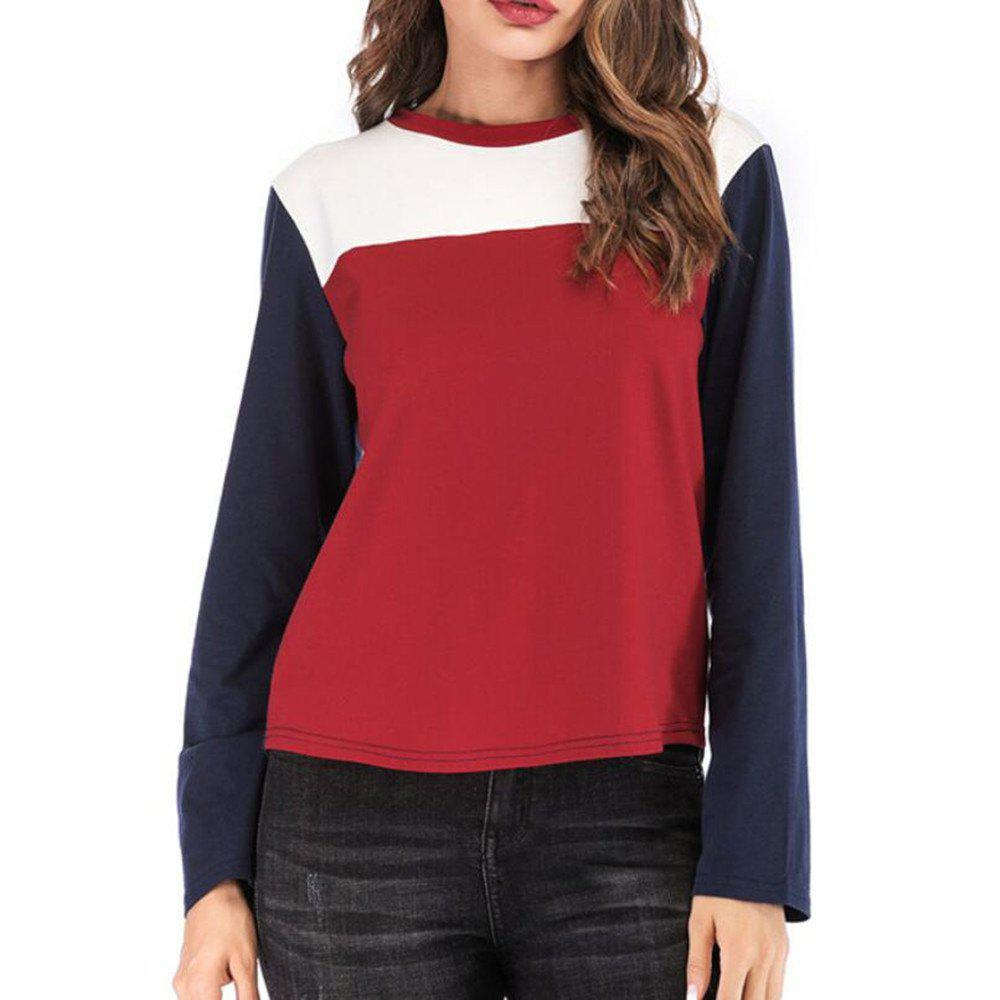 Cheap Women's round collar long-sleeved T-Shirt Trichromatic Splicing