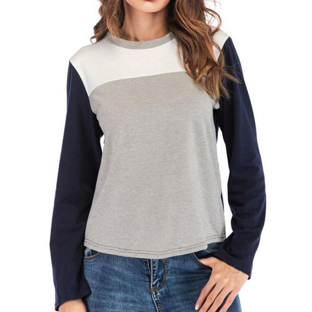 Outfit Women's round collar long-sleeved T-Shirt Trichromatic Splicing