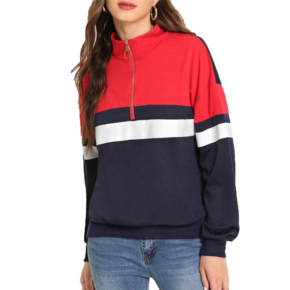 Store Women's Vertical Collar Zipper Long Sleeve Sweatshirt