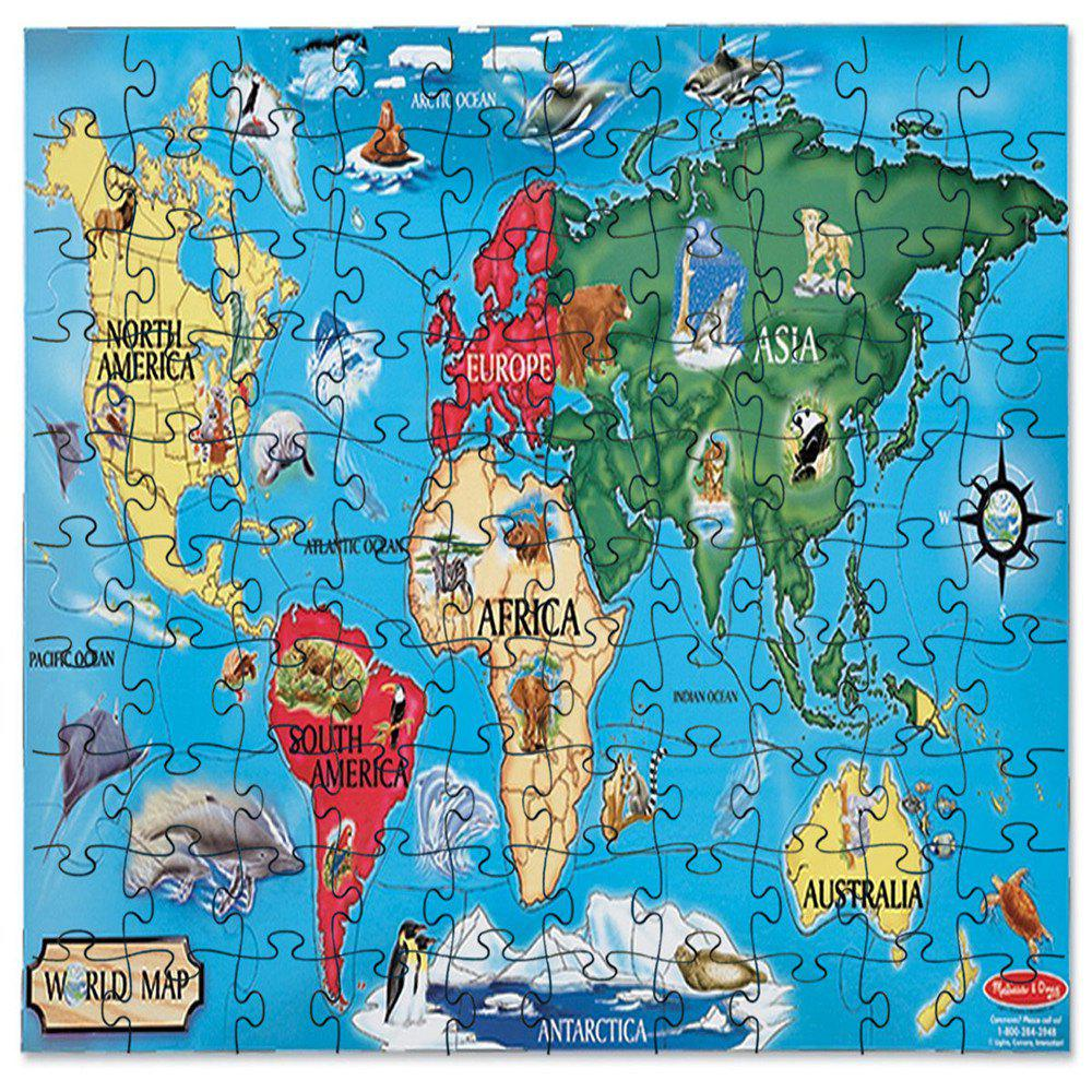 3D Jigsaw Paper Blue World Карта Puzzle Block Assembly Birthday Toy