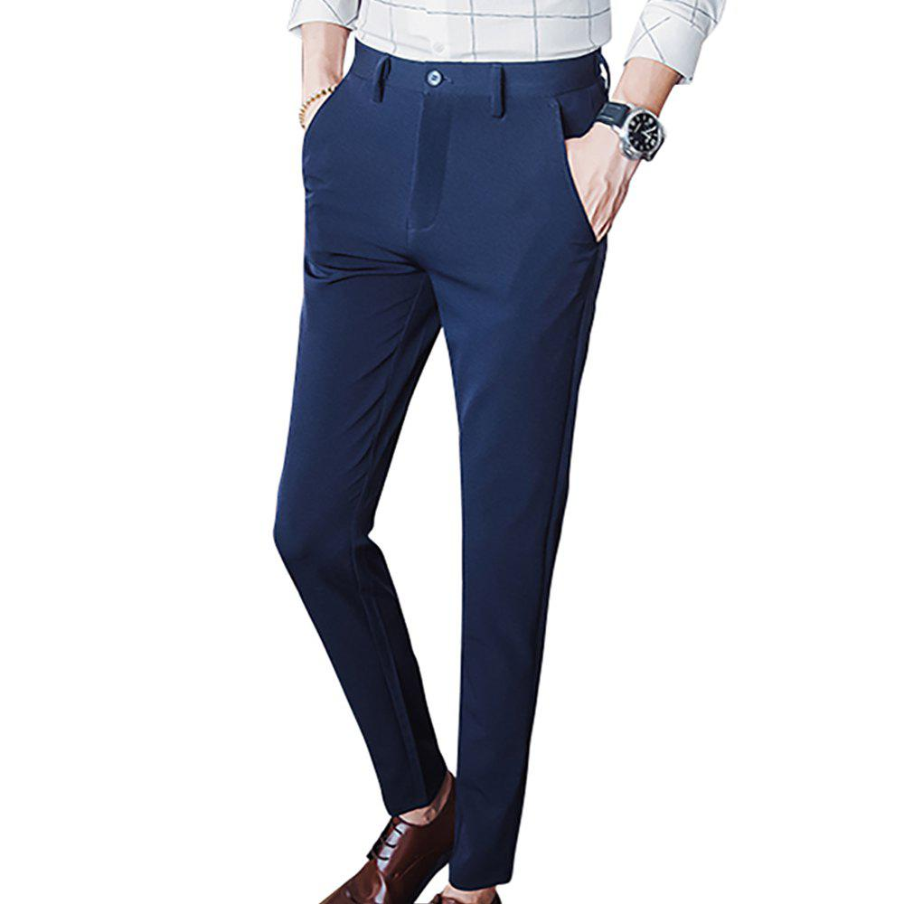 Fancy Men's Slim Stretch Solid Color Feet Casual Pants