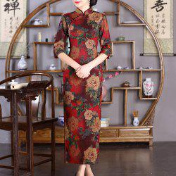 Chinese Classical Lady Slim Fashion Sexy Embroidered Peony Cheongsam -