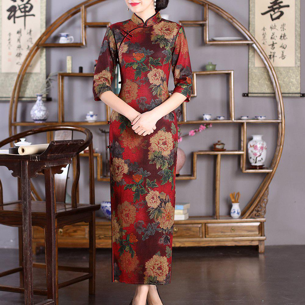 Sale Chinese Classical Lady Slim Fashion Sexy Embroidered Peony Cheongsam