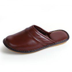 Men Leather Cotton Slippers PU Short Plush Winter Home Shoes -