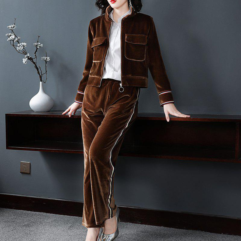 Latest Pure Color Casual Velvet Suit Two-Piece Set