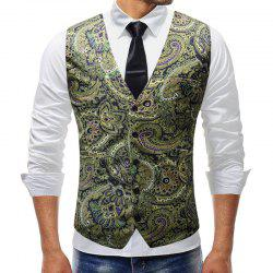New Man Fashion Print 3D Floral V-Neck Party Casual Vest Blazer - Vert Pomme 2XL
