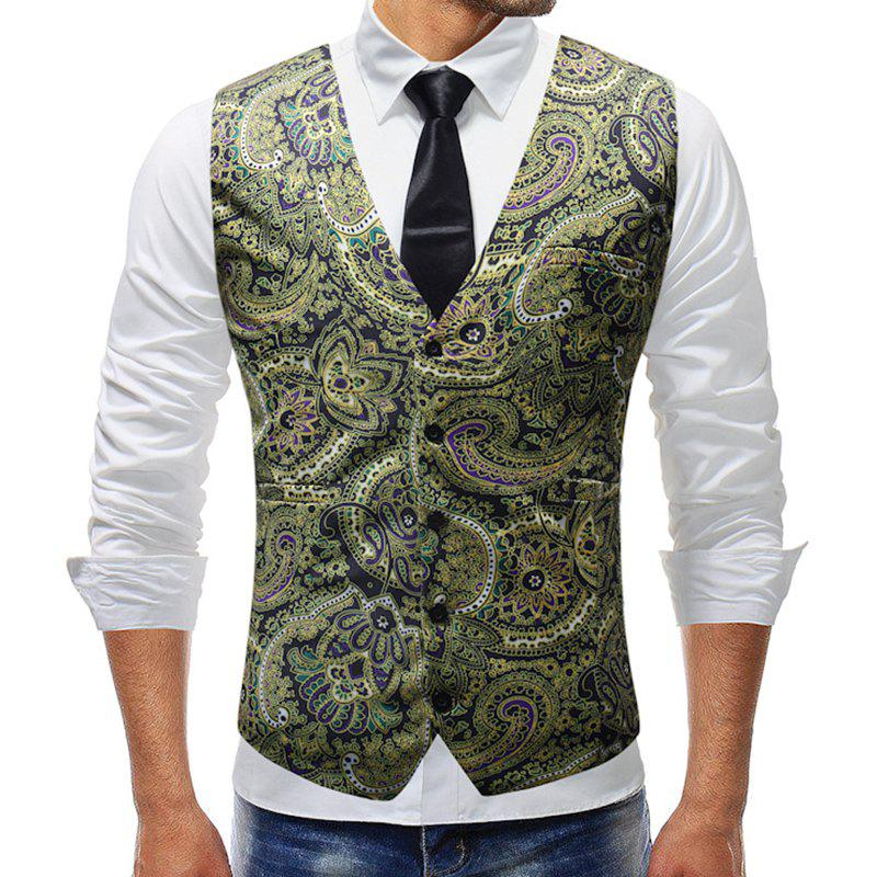 New Man Fashion Print 3D Floral V-Neck Party Casual Vest Blazer Vert Pomme 2XL