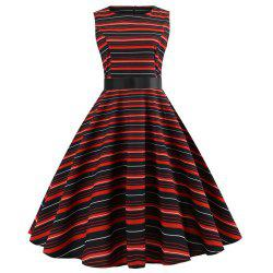 Winter Sleeveless Hepburn Wind Waist Christmas Dress -
