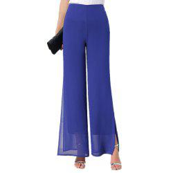 Women's Fashion Split Solid Color High Waist Plus Size Wide Leg Chiffon Pants -