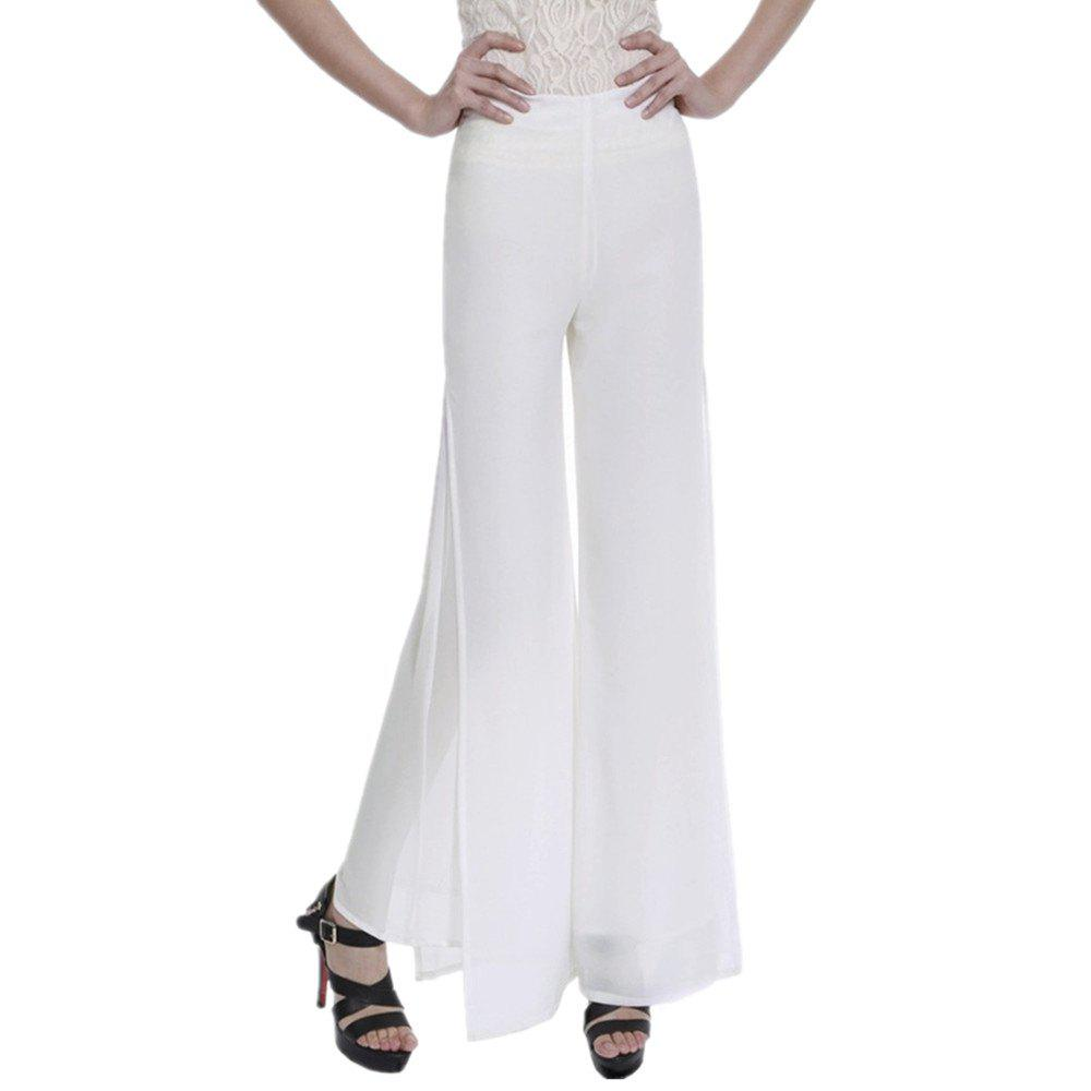 Outfits Women's Fashion Split Solid Color High Waist Plus Size Wide Leg Chiffon Pants