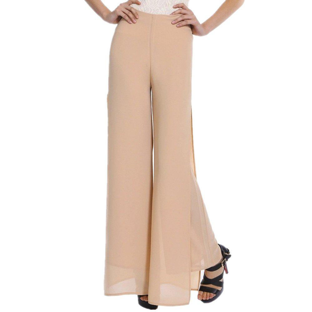 Online Women's Fashion Split Solid Color High Waist Plus Size Wide Leg Chiffon Pants