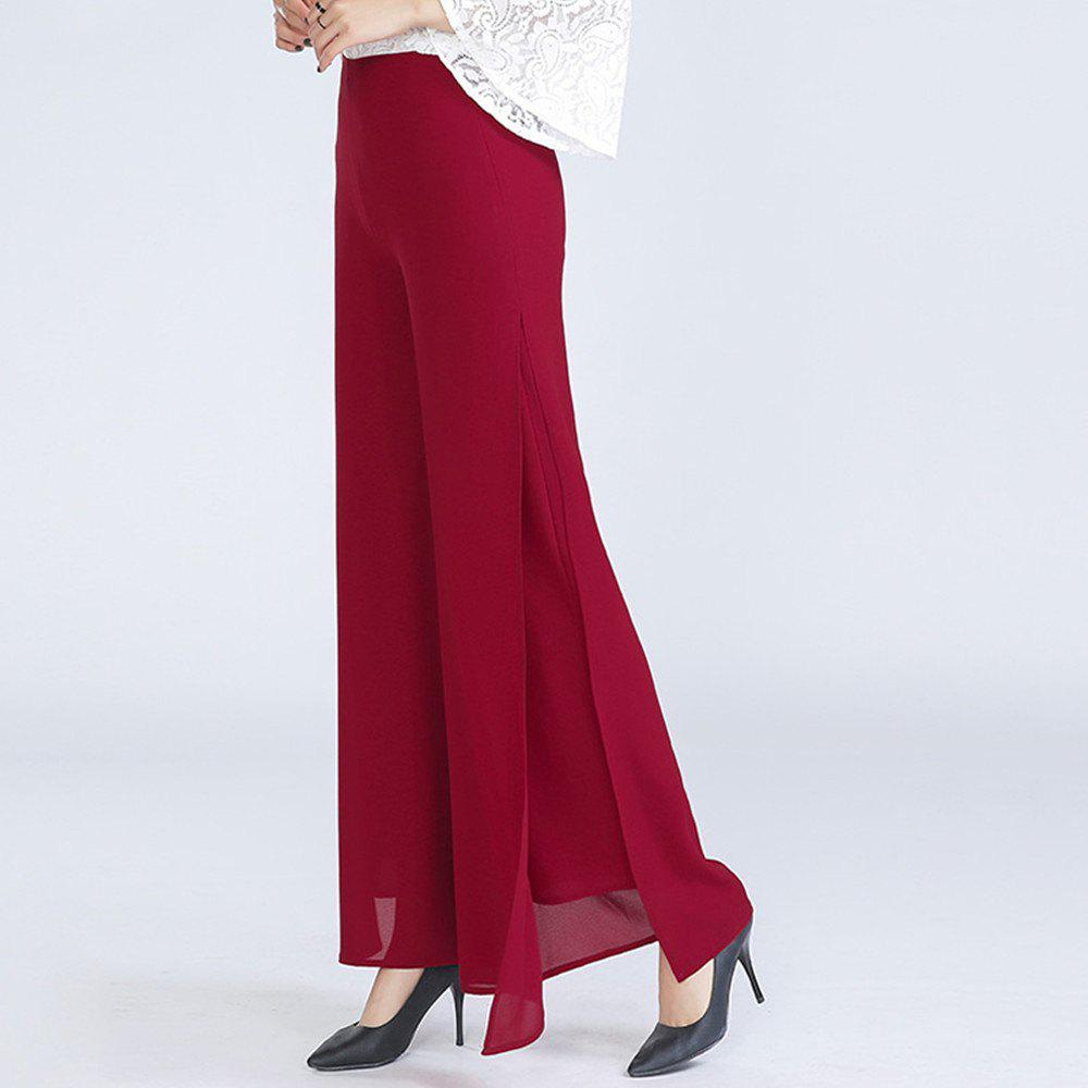 Cheap Women's Fashion Split Solid Color High Waist Plus Size Wide Leg Chiffon Pants