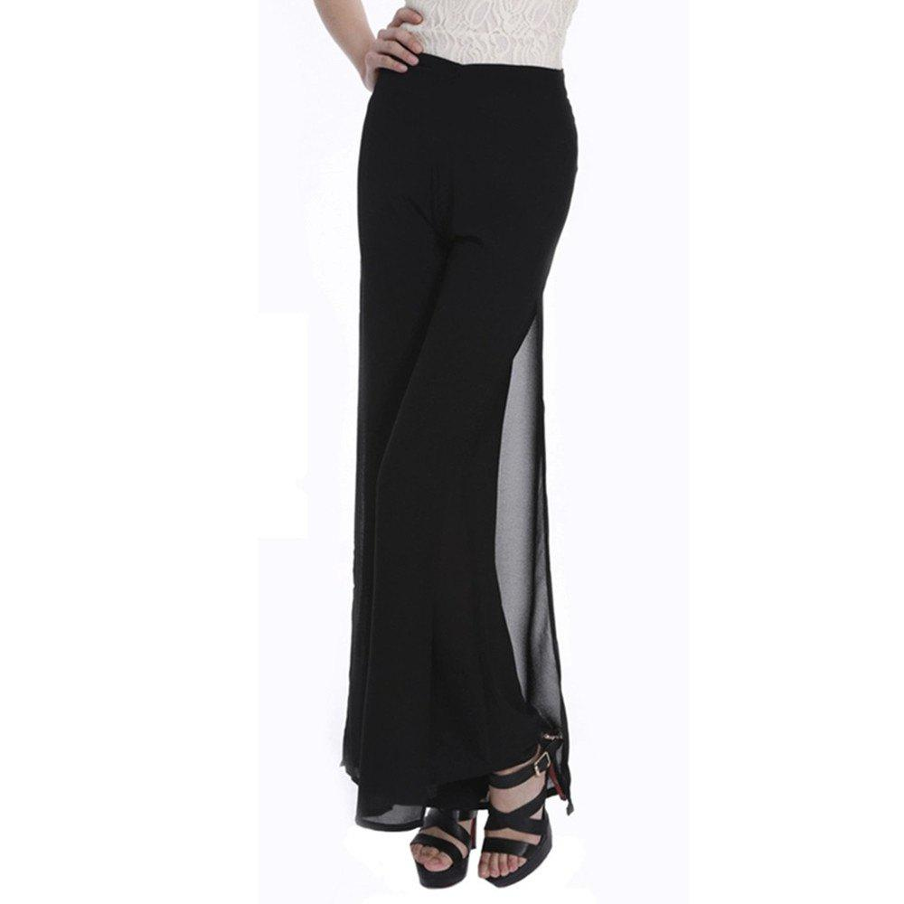 65cf23f460c Hot Women s Fashion Split Solid Color High Waist Plus Size Wide Leg Chiffon  Pants