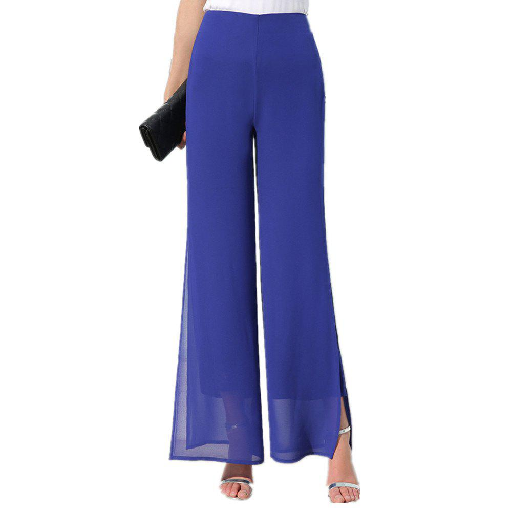 Store Women's Fashion Split Solid Color High Waist Plus Size Wide Leg Chiffon Pants