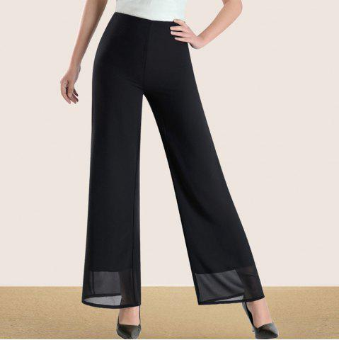 Women's Fashion High Waist Solid Color Slim Straight Wide Leg Chiffon Pants