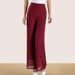 Women's Fashion High Waist Solid Color Slim Straight Wide Leg Chiffon Pants -