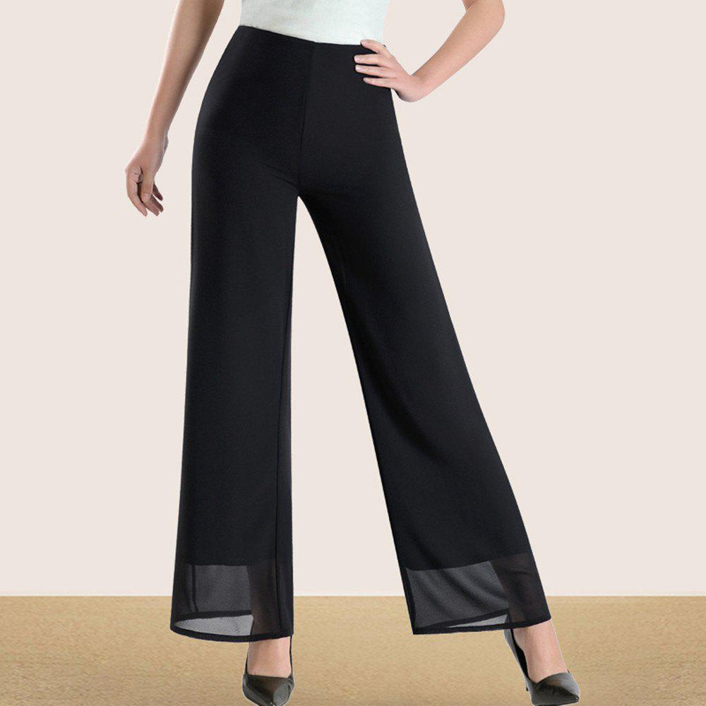 Outfits Women's Fashion High Waist Solid Color Slim Straight Wide Leg Chiffon Pants