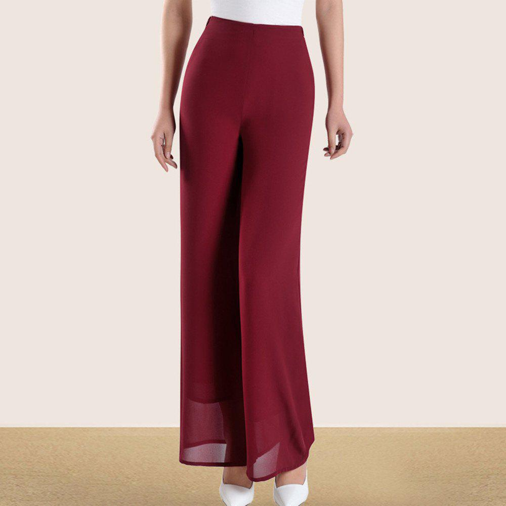 Fancy Women's Fashion High Waist Solid Color Slim Straight Wide Leg Chiffon Pants